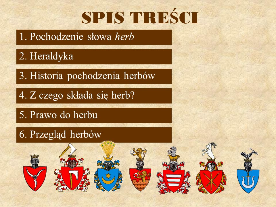 SPIS TRE Ś CI 1.Pochodzenie słowa herb 3. Historia pochodzenia herbów 5.
