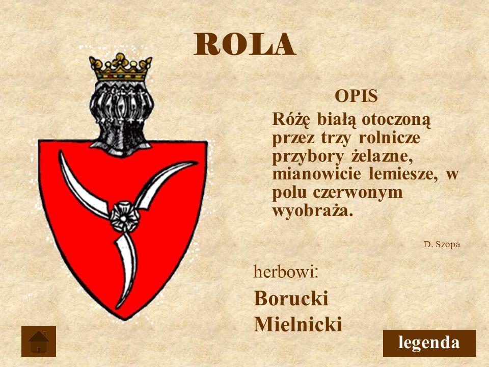 ROLA OPIS Różę białą otoczoną przez trzy rolnicze przybory żelazne, mianowicie lemiesze, w polu czerwonym wyobraża.