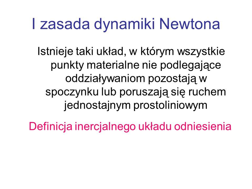 I zasada dynamiki Newtona Istnieje taki układ, w którym wszystkie punkty materialne nie podlegające oddziaływaniom pozostają w spoczynku lub poruszają