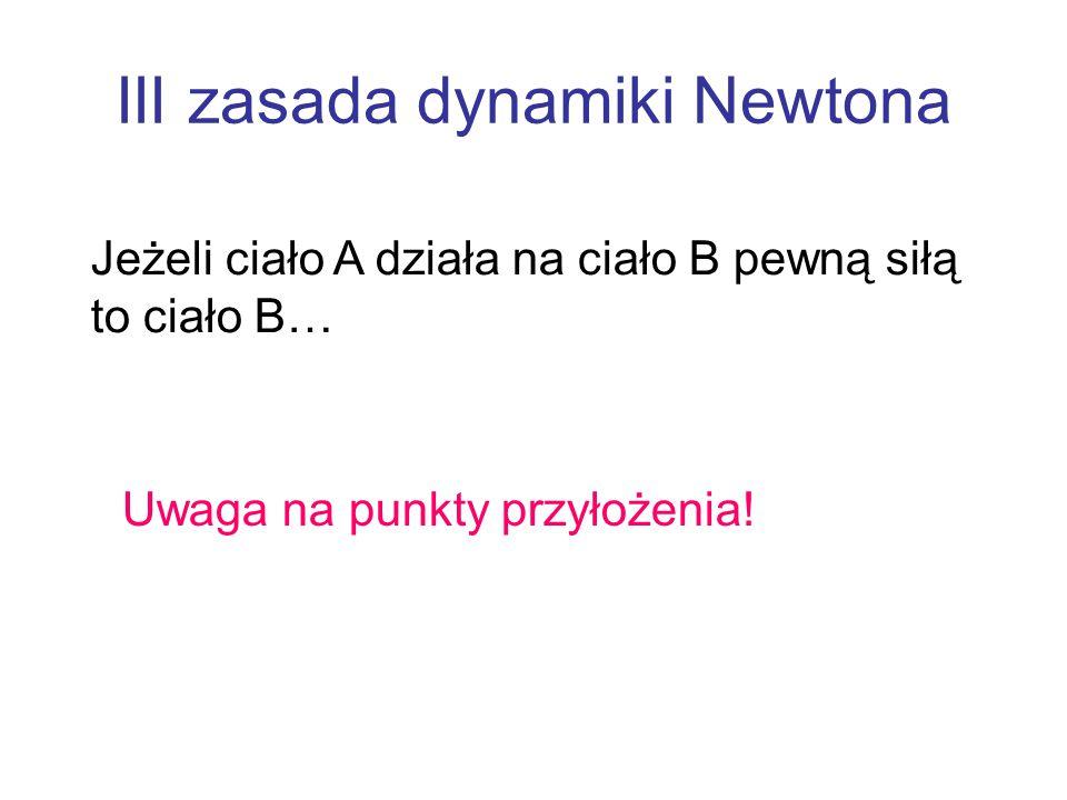 III zasada dynamiki Newtona Jeżeli ciało A działa na ciało B pewną siłą to ciało B… Uwaga na punkty przyłożenia!