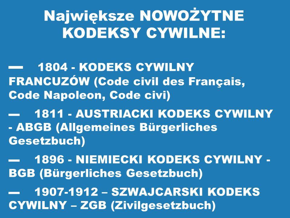 Największe NOWOŻYTNE KODEKSY CYWILNE: ▬ 1804 - KODEKS CYWILNY FRANCUZÓW (Code civil des Français, Code Napoleon, Code civi) ▬ 1811 - AUSTRIACKI KODEKS