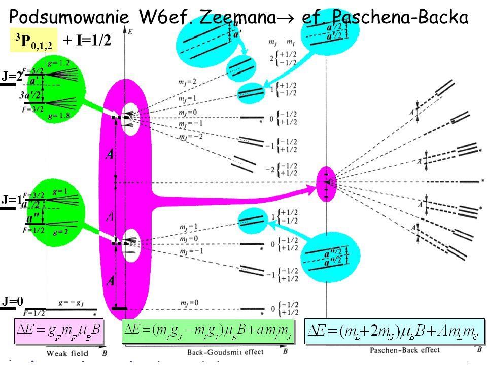 JZ na podstawie W. Gawlik - Wstęp do Fizyki Atomowej, wykład 71/18 Podsumowanie W6ef. Zeemana  ef. Paschena-Backa J=2 J=1 3 P 0,1,2 + I=1/2 J=0