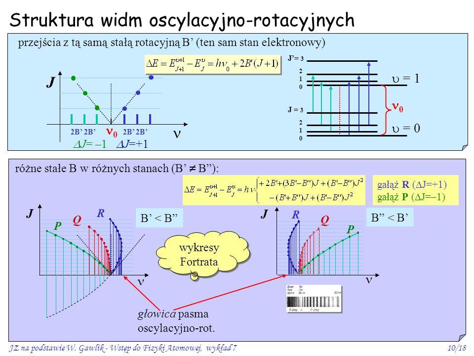 JZ na podstawie W. Gawlik - Wstęp do Fizyki Atomowej, wykład 710/18 Struktura widm oscylacyjno-rotacyjnych J Q R P przejścia z tą samą stałą rotacyjną