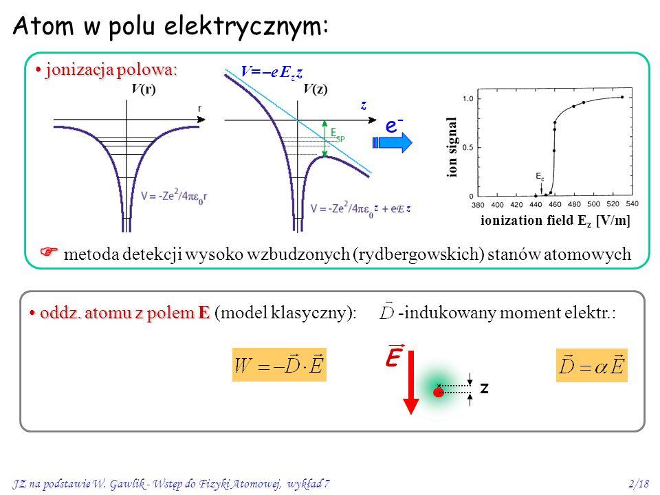 JZ na podstawie W. Gawlik - Wstęp do Fizyki Atomowej, wykład 72/18 Atom w polu elektrycznym: ion signal ionization field E z [V/m]   metoda detekcji