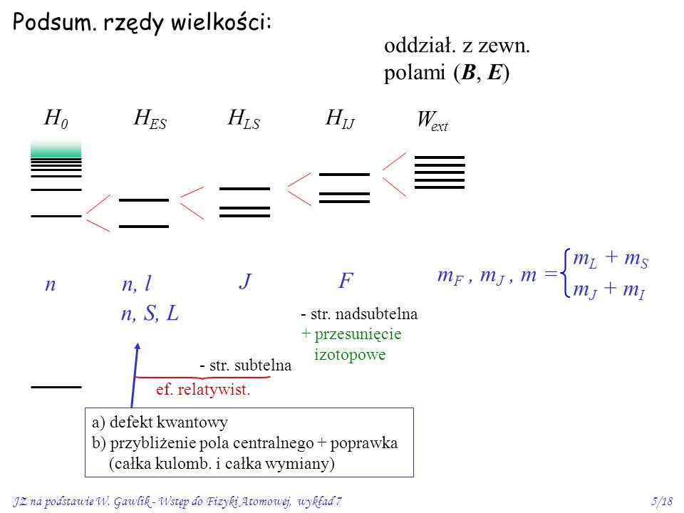 JZ na podstawie W. Gawlik - Wstęp do Fizyki Atomowej, wykład 75/18 Podsum. rzędy wielkości: H0H0 n H ES n, l n, S, L H LS J - str. subtelna - str. nad