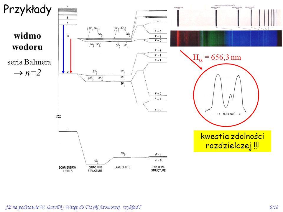 JZ na podstawie W. Gawlik - Wstęp do Fizyki Atomowej, wykład 76/18 Przykłady kwestia zdolności rozdzielczej !!! H  = 656,3 nm widmo wodoru seria Balm