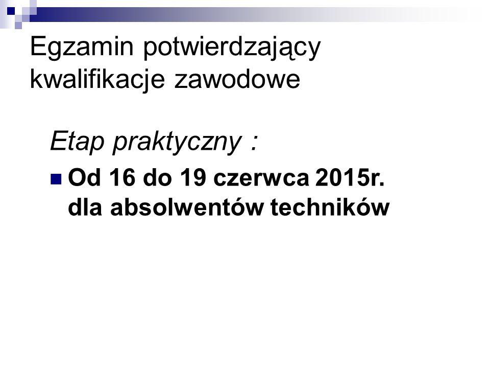Egzamin potwierdzający kwalifikacje zawodowe Etap praktyczny : Od 16 do 19 czerwca 2015r.