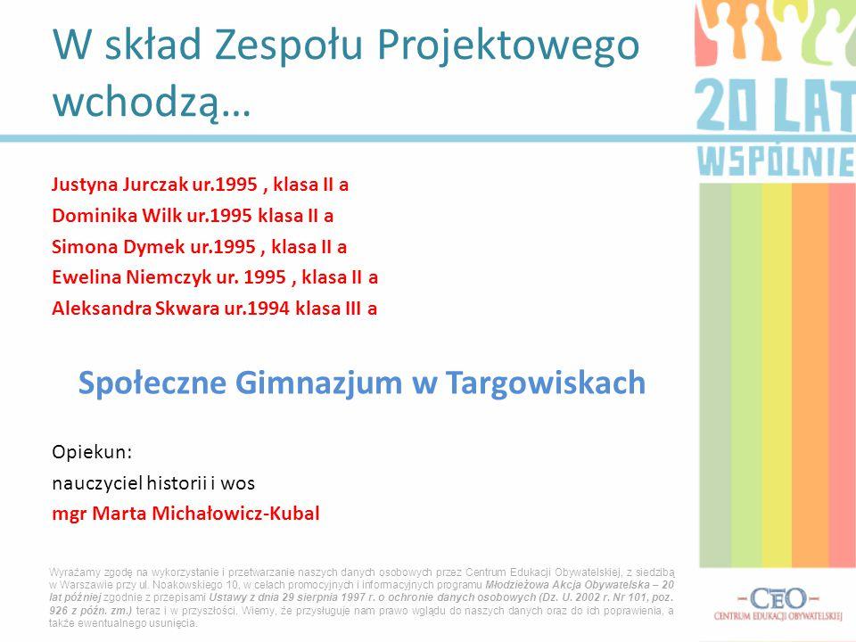 Justyna Jurczak ur.1995, klasa II a Dominika Wilk ur.1995 klasa II a Simona Dymek ur.1995, klasa II a Ewelina Niemczyk ur.