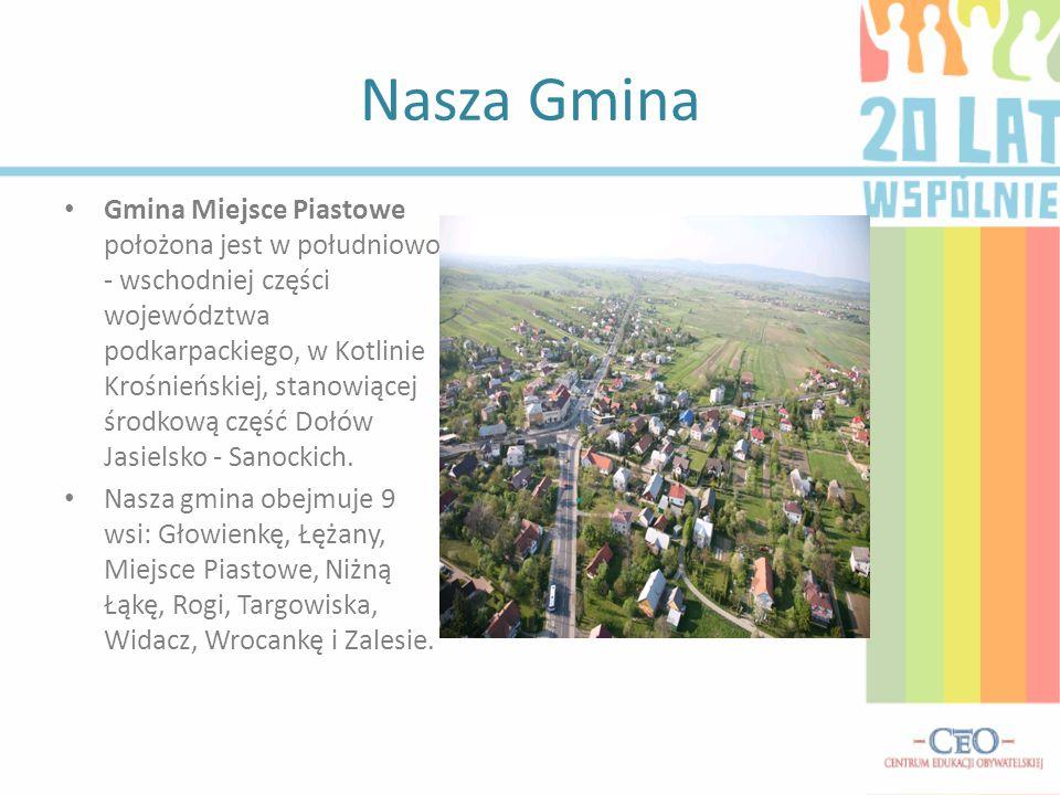 Nasza Gmina Gmina Miejsce Piastowe położona jest w południowo - wschodniej części województwa podkarpackiego, w Kotlinie Krośnieńskiej, stanowiącej środkową część Dołów Jasielsko - Sanockich.