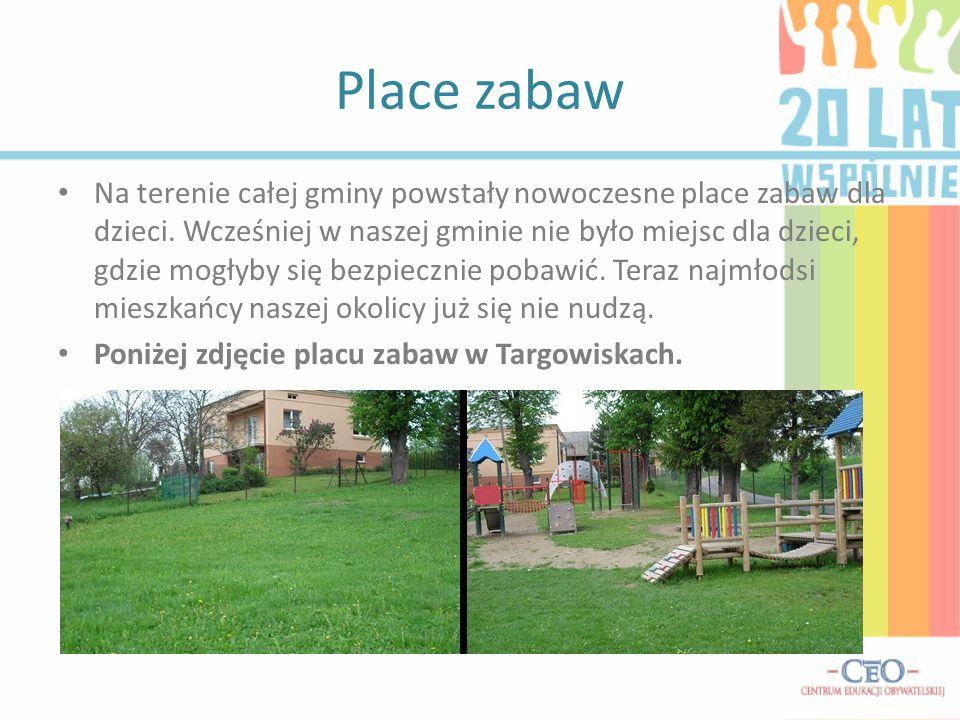 Place zabaw Na terenie całej gminy powstały nowoczesne place zabaw dla dzieci.