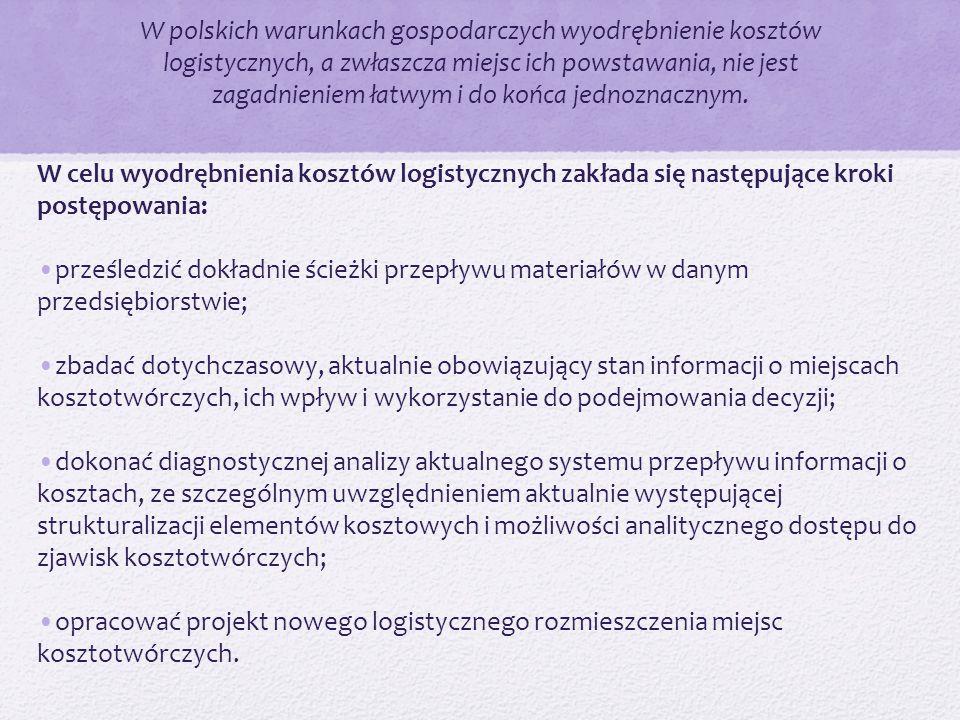 W polskich warunkach gospodarczych wyodrębnienie kosztów logistycznych, a zwłaszcza miejsc ich powstawania, nie jest zagadnieniem łatwym i do końca je