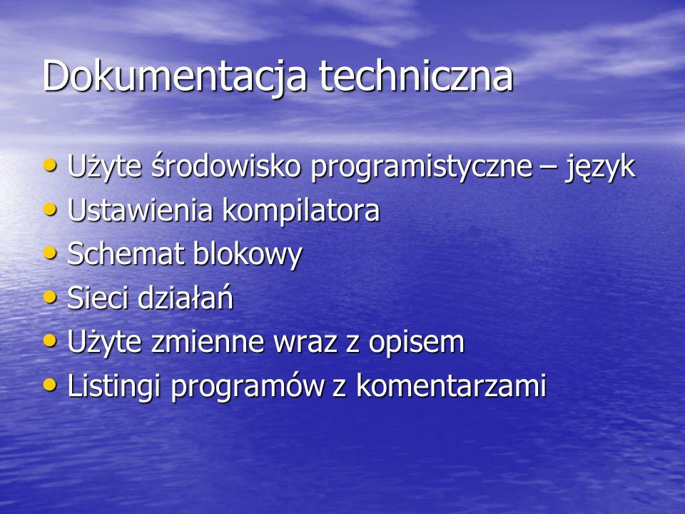Dokumentacja techniczna Użyte środowisko programistyczne – język Użyte środowisko programistyczne – język Ustawienia kompilatora Ustawienia kompilatora Schemat blokowy Schemat blokowy Sieci działań Sieci działań Użyte zmienne wraz z opisem Użyte zmienne wraz z opisem Listingi programów z komentarzami Listingi programów z komentarzami