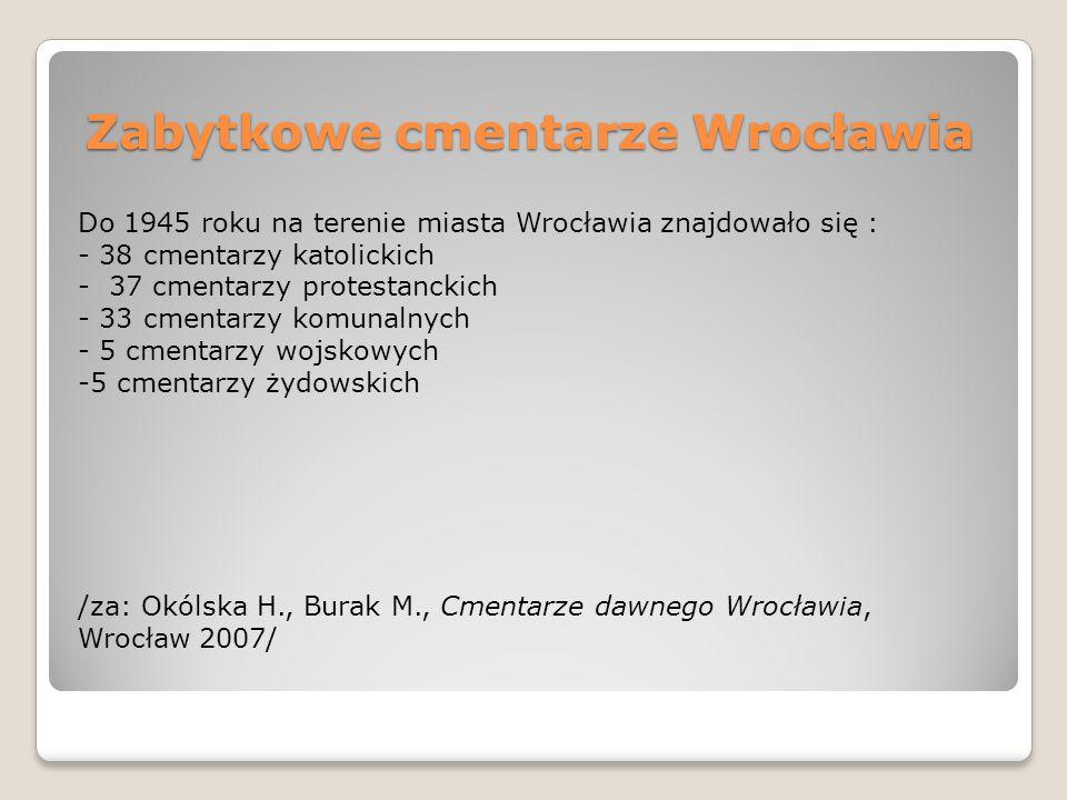 Zabytkowe cmentarze Wrocławia Do 1945 roku na terenie miasta Wrocławia znajdowało się : - 38 cmentarzy katolickich - 37 cmentarzy protestanckich - 33