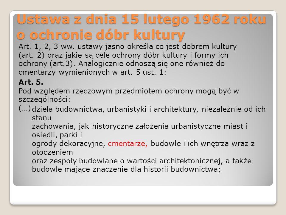 Ustawa z dnia 15 lutego 1962 roku o ochronie dóbr kultury Art. 1, 2, 3 ww. ustawy jasno określa co jest dobrem kultury (art. 2) oraz jakie są cele och