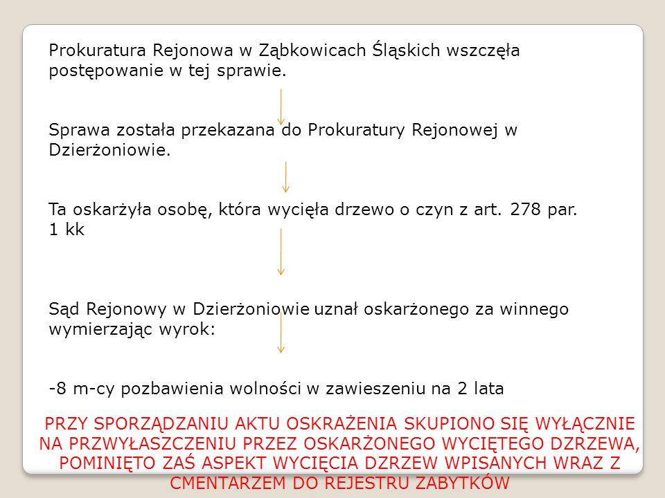 Prokuratura Rejonowa w Ząbkowicach Śląskich wszczęła postępowanie w tej sprawie. Sprawa została przekazana do Prokuratury Rejonowej w Dzierżoniowie. T