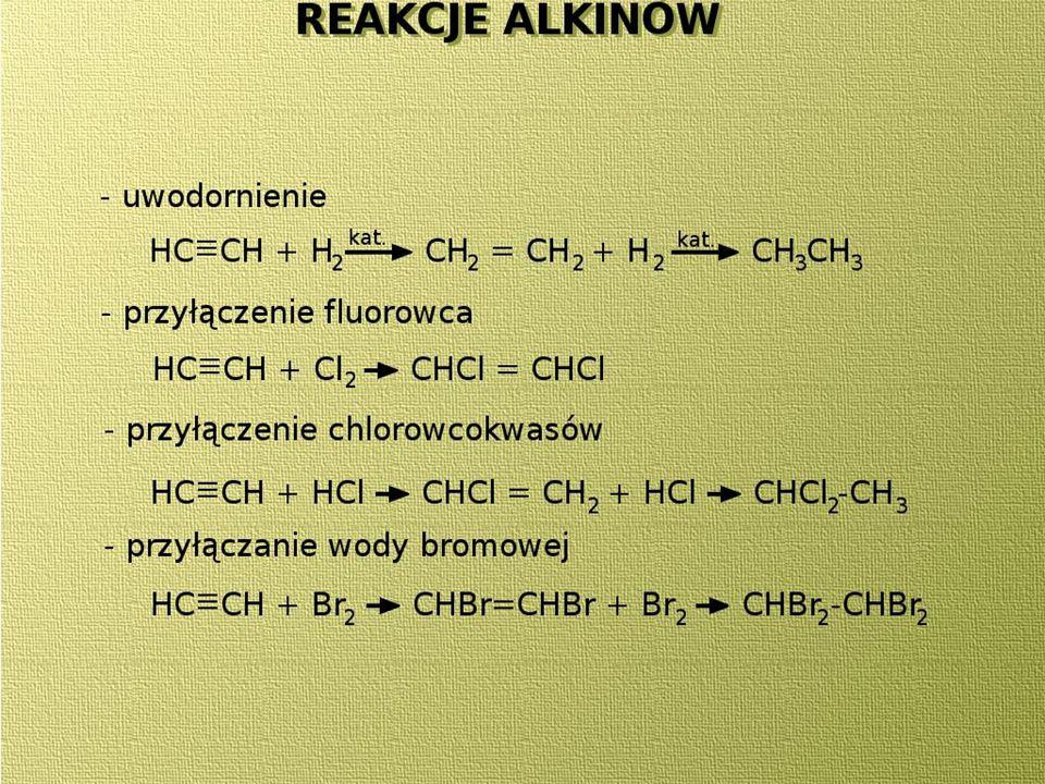 Chlorowanie metanu CH 4 + Cl 2 --> CH 3 Cl + HCl –chlorometan CH 3 Cl + Cl 2 --> CH 2 Cl + HCl -dichlorometan CH 2 Cl 2 + Cl 2 --> CHCl 3 + HCl- trichlorometan CHCl 3 + Cl 2 --> CCl 4 + HCl -tetrachlorometan