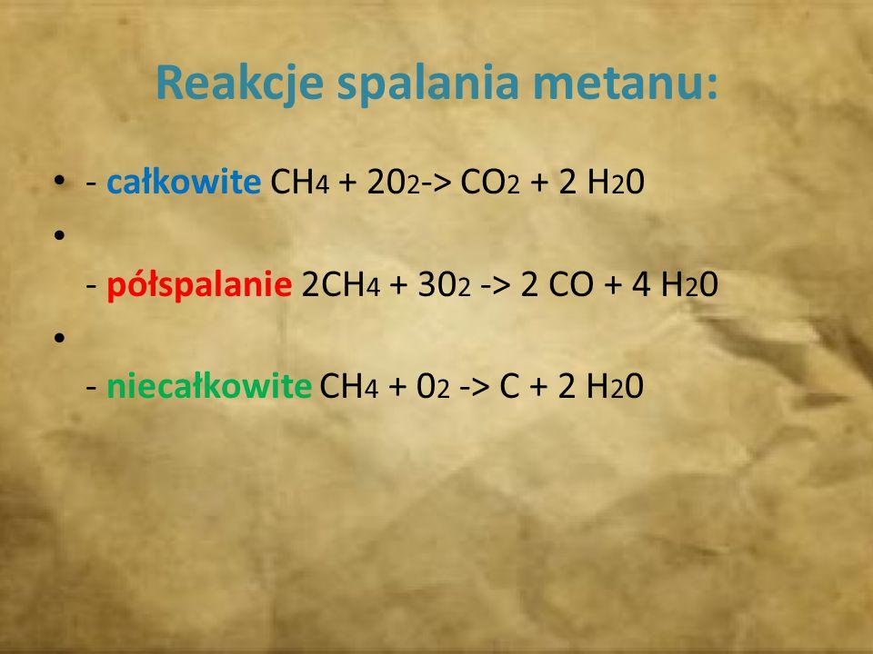 Reakcje spalania metanu: - całkowite CH 4 + 20 2 -> CO 2 + 2 H 2 0 - półspalanie 2CH 4 + 30 2 -> 2 CO + 4 H 2 0 - niecałkowite CH 4 + 0 2 -> C + 2 H 2