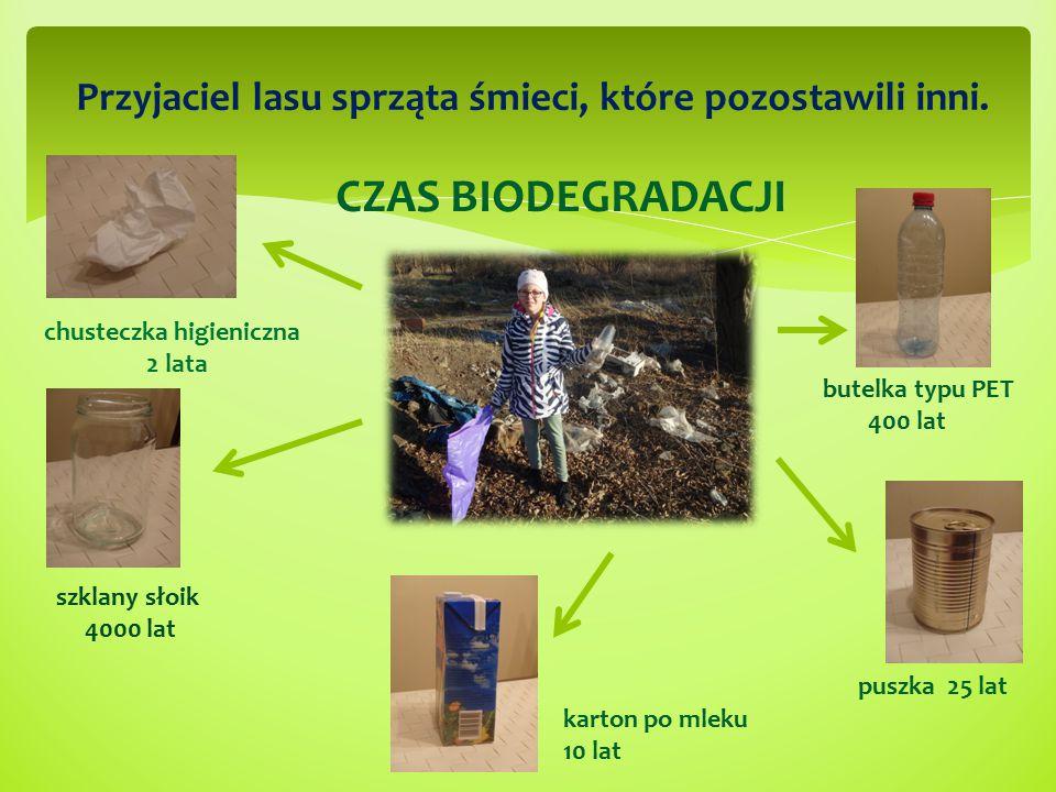 CZAS BIODEGRADACJI butelka typu PET 400 lat szklany słoik 4000 lat chusteczka higieniczna 2 lata Przyjaciel lasu sprząta śmieci, które pozostawili inn