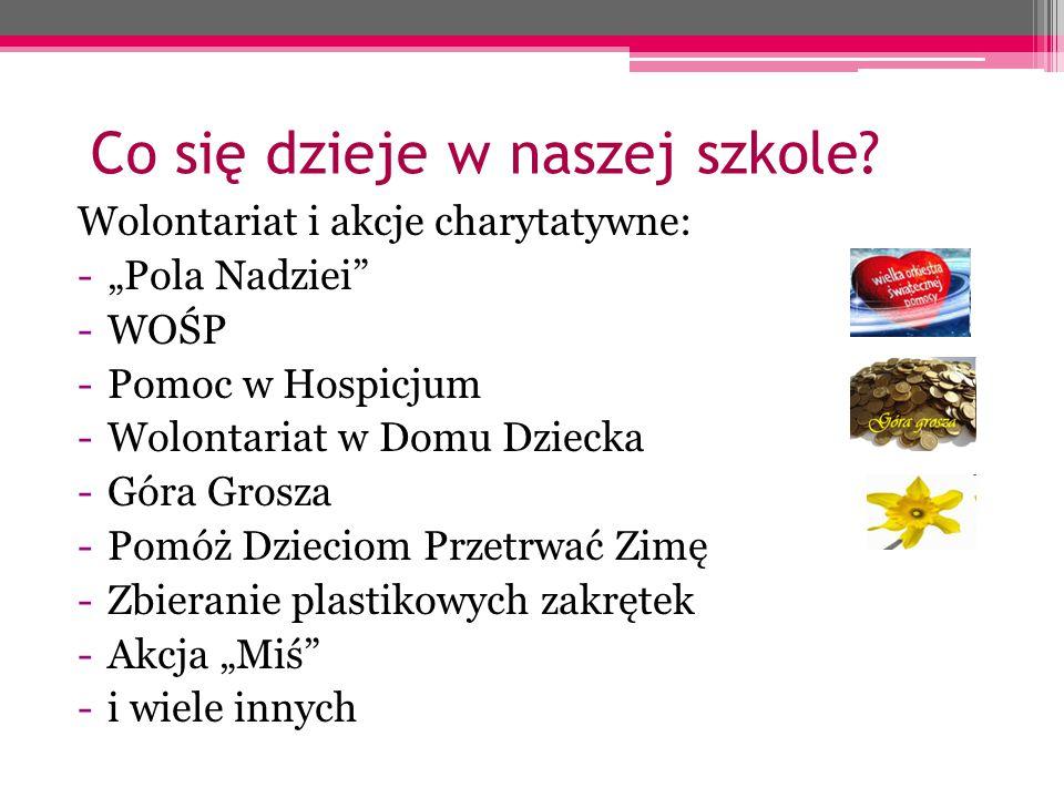 """Co się dzieje w naszej szkole? Wolontariat i akcje charytatywne: -""""Pola Nadziei"""" -WOŚP -Pomoc w Hospicjum -Wolontariat w Domu Dziecka -Góra Grosza -Po"""