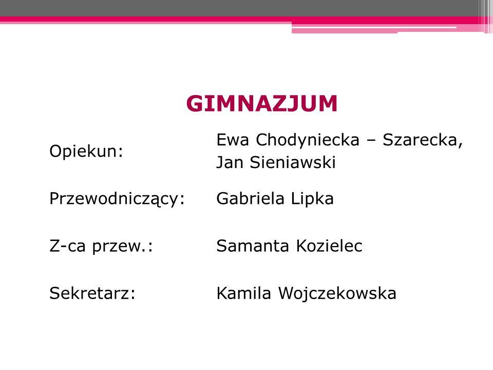 GIMNAZJUM Opiekun: Ewa Chodyniecka – Szarecka, Jan Sieniawski Przewodniczący:Gabriela Lipka Z-ca przew.:Samanta Kozielec Sekretarz:Kamila Wojczekowska