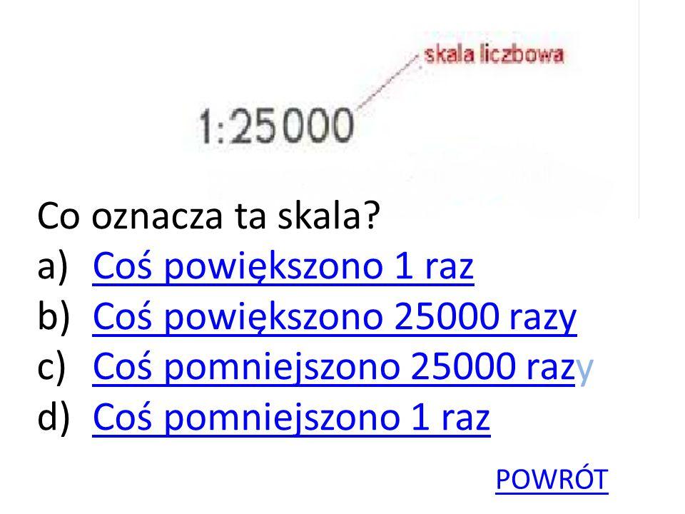 Co oznacza ta skala? a)Coś powiększono 1 razCoś powiększono 1 raz b)Coś powiększono 25000 razyCoś powiększono 25000 razy c)Coś pomniejszono 25000 razy