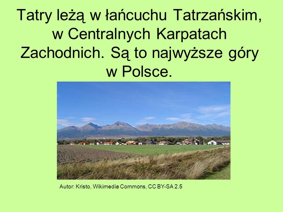 Tatry leżą w łańcuchu Tatrzańskim, w Centralnych Karpatach Zachodnich. Są to najwyższe góry w Polsce. Autor: Kristo, Wikimedia Commons, CC BY-SA 2.5
