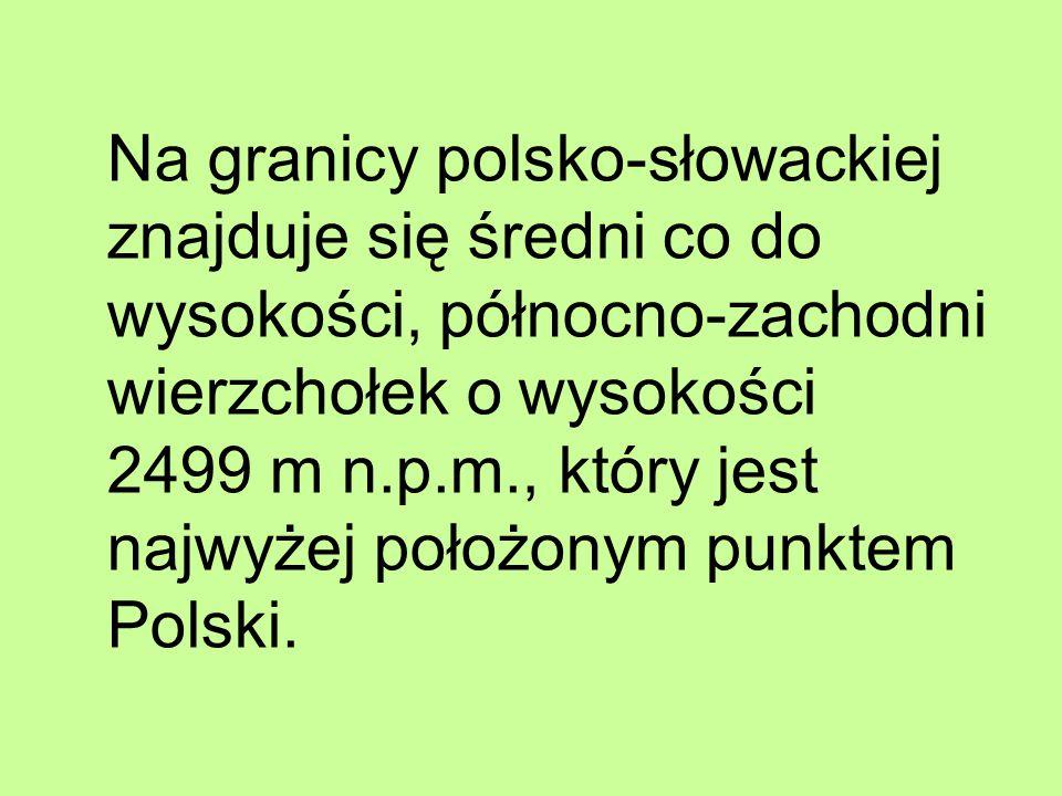 Na granicy polsko-słowackiej znajduje się średni co do wysokości, północno-zachodni wierzchołek o wysokości 2499 m n.p.m., który jest najwyżej położon