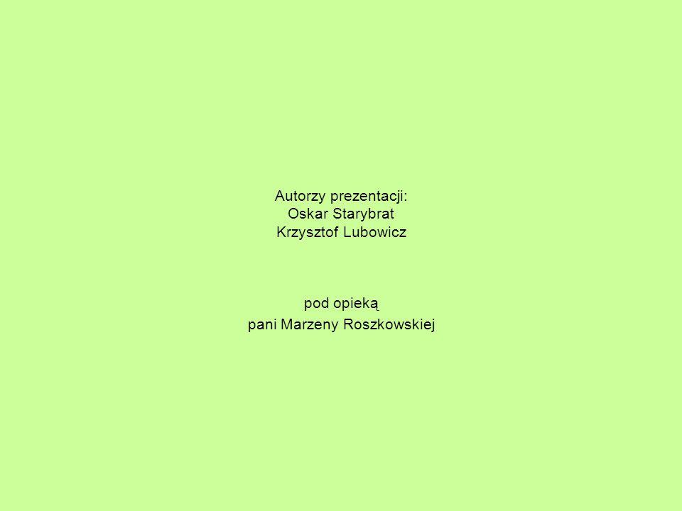 Autorzy prezentacji: Oskar Starybrat Krzysztof Lubowicz pod opieką pani Marzeny Roszkowskiej