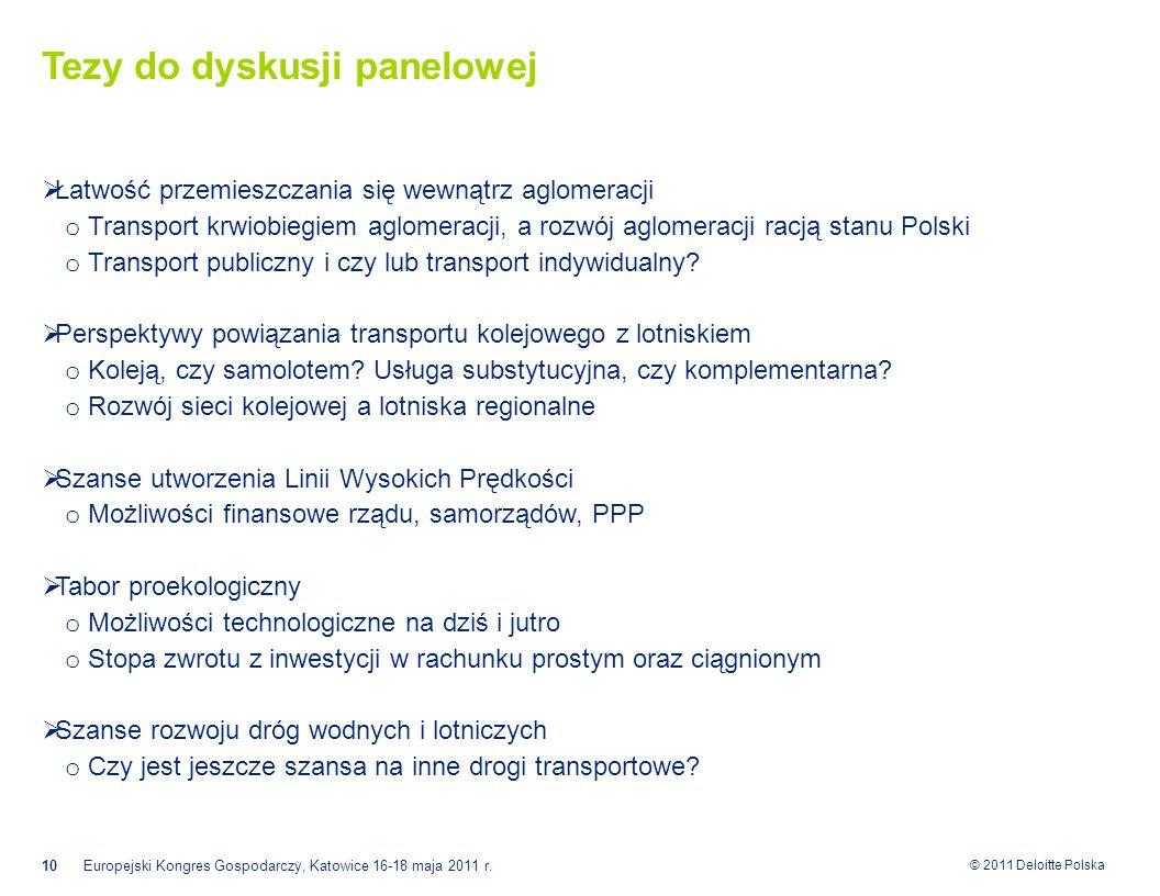 © 2011 Deloitte Polska Tezy do dyskusji panelowej  Łatwość przemieszczania się wewnątrz aglomeracji o Transport krwiobiegiem aglomeracji, a rozwój aglomeracji racją stanu Polski o Transport publiczny i czy lub transport indywidualny.