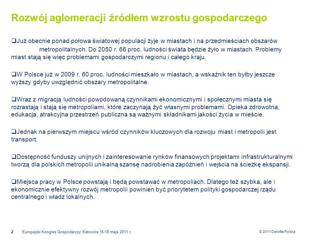 © 2011 Deloitte Polska Rozwój aglomeracji źródłem wzrostu gospodarczego  Już obecnie ponad połowa światowej populacji żyje w miastach i na przedmieściach obszarów metropolitalnych.