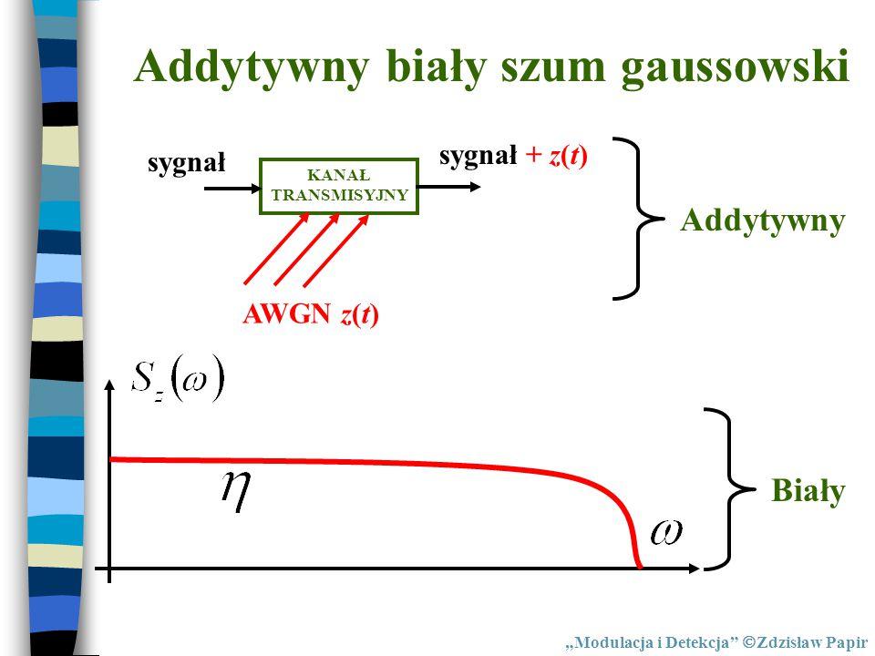 """KANAŁ TRANSMISYJNY AWGN z(t) sygnał sygnał + z(t) Addytywny Biały """"Modulacja i Detekcja""""  Zdzisław Papir"""