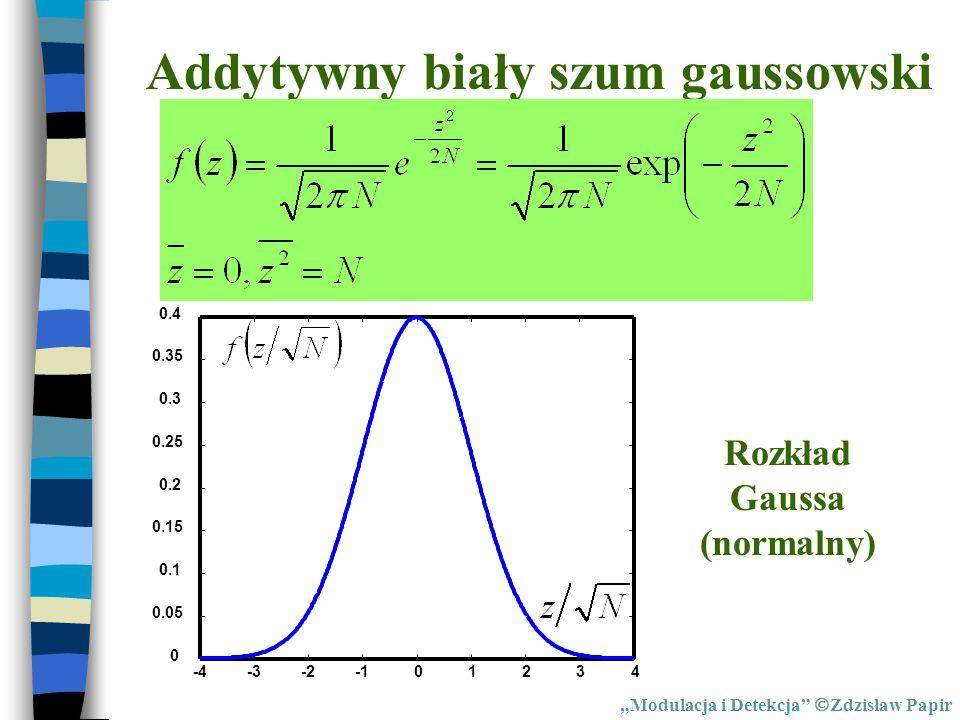"""Addytywny biały szum gaussowski -4-3-201234 0 0.05 0.1 0.15 0.2 0.25 0.3 0.35 0.4 Rozkład Gaussa (normalny) """"Modulacja i Detekcja""""  Zdzisław Papir"""