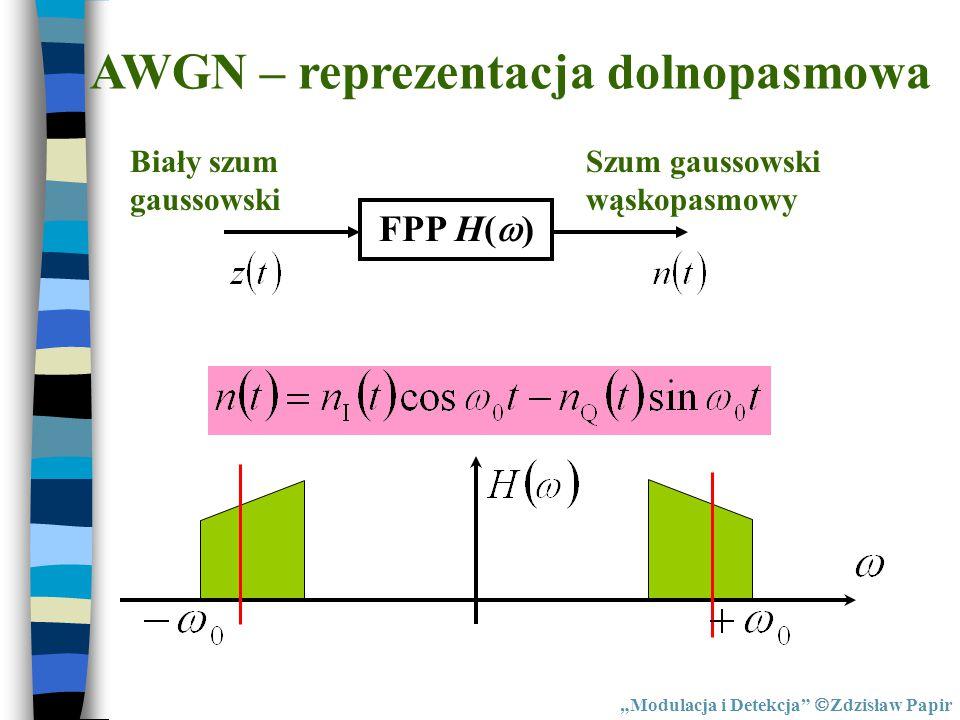 """AWGN – reprezentacja dolnopasmowa FPP H(  ) Biały szum gaussowski Szum gaussowski wąskopasmowy """"Modulacja i Detekcja""""  Zdzisław Papir"""