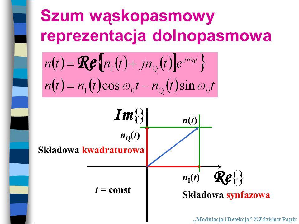 """Szum wąskopasmowy reprezentacja dolnopasmowa nQ(t)nQ(t) nI(t)nI(t) n(t)n(t) t = const Składowa synfazowa Składowa kwadraturowa """"Modulacja i Detekcja"""""""