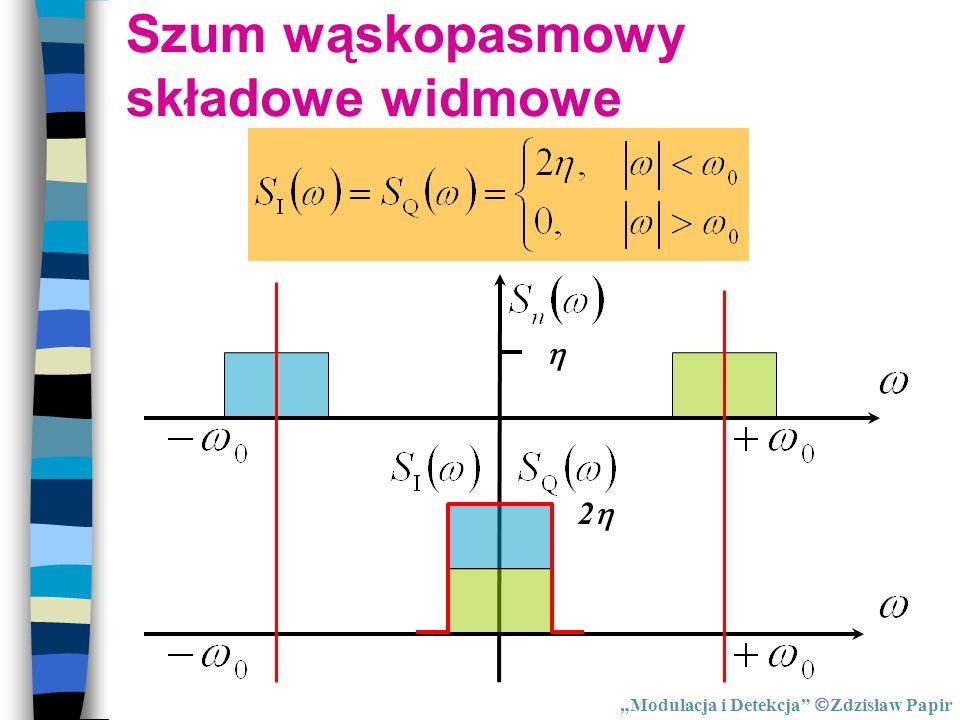 """ 22 """"Modulacja i Detekcja""""  Zdzisław Papir Szum wąskopasmowy składowe widmowe"""