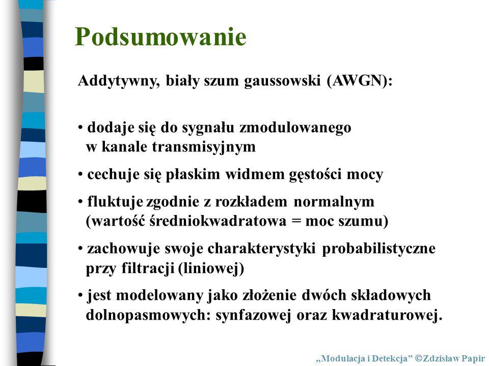 Podsumowanie Addytywny, biały szum gaussowski (AWGN): dodaje się do sygnału zmodulowanego w kanale transmisyjnym cechuje się płaskim widmem gęstości m