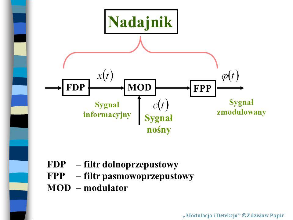 """Nadajnik FDPMOD FPP Sygnał informacyjny Sygnał zmodulowany FDP– filtr dolnoprzepustowy FPP– filtr pasmowoprzepustowy MOD– modulator Sygnał nośny """"Modu"""