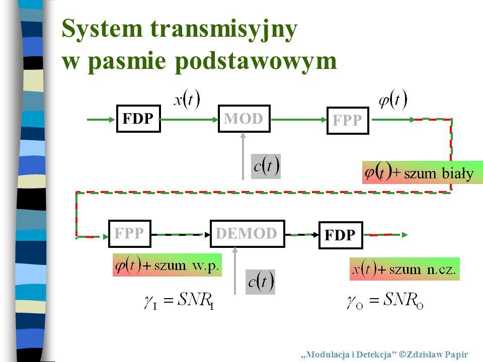 """System transmisyjny w pasmie podstawowym FDPMOD FPP DEMOD FDP  szum biały  t  """"Modulacja i Detekcja""""  Zdzisław Papir"""