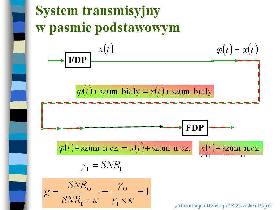 """System transmisyjny w pasmie podstawowym """"Modulacja i Detekcja""""  Zdzisław Papir FDP"""
