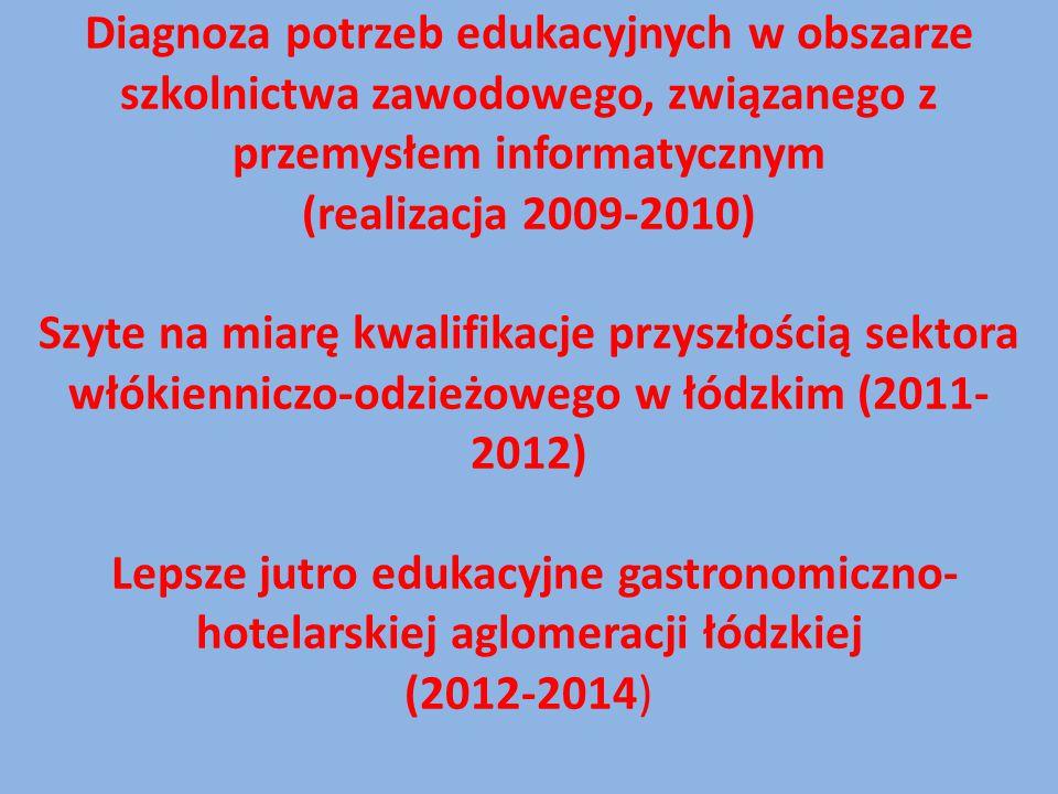 Diagnoza potrzeb edukacyjnych w obszarze szkolnictwa zawodowego, związanego z przemysłem informatycznym (realizacja 2009-2010) Szyte na miarę kwalifik