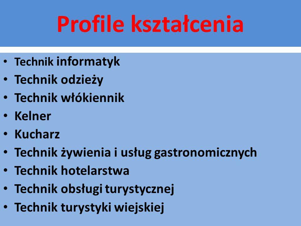 Profile kształcenia Technik informatyk Technik odzieży Technik włókiennik Kelner Kucharz Technik żywienia i usług gastronomicznych Technik hotelarstwa