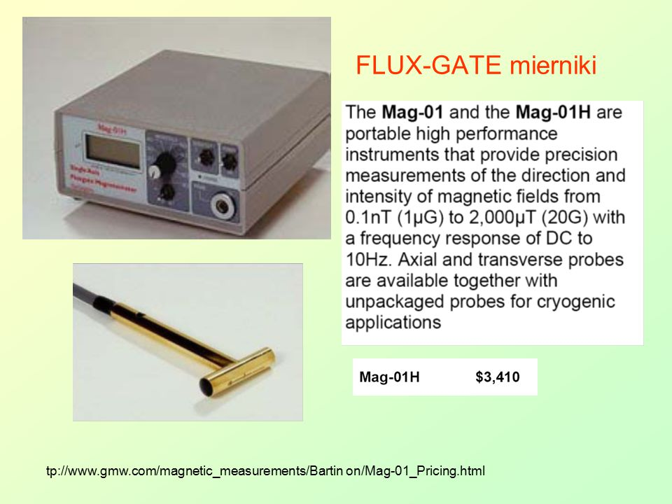 FLUX-GATE mierniki tp://www.gmw.com/magnetic_measurements/Bartin on/Mag-01_Pricing.html
