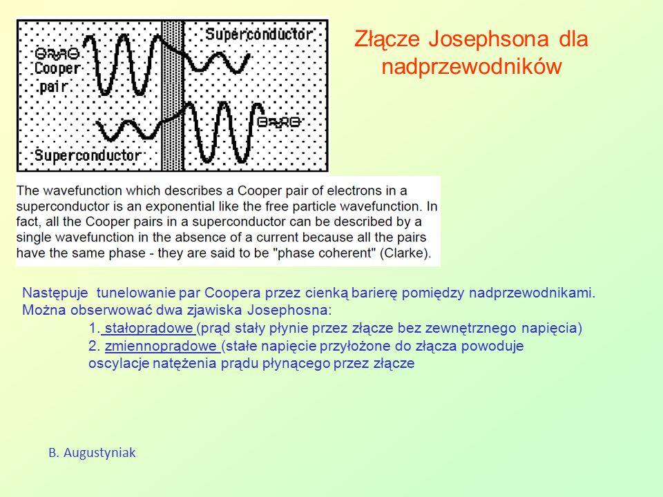 Złącze Josephsona dla nadprzewodników B. Augustyniak Następuje tunelowanie par Coopera przez cienką barierę pomiędzy nadprzewodnikami. Można obserwowa