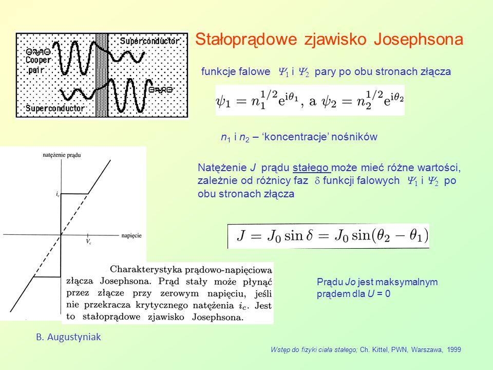 Stałoprądowe zjawisko Josephsona B. Augustyniak Wstęp do fizyki ciała stałego; Ch. Kittel, PWN, Warszawa, 1999 Natężenie J prądu stałego może mieć róż