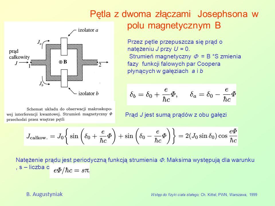 Pętla z dwoma złączami Josephsona w polu magnetycznym B B. Augustyniak Wstęp do fizyki ciała stałego; Ch. Kittel, PWN, Warszawa, 1999 Przez pętle prze