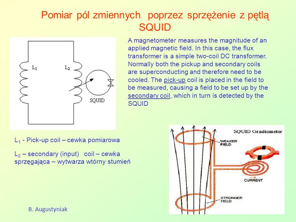 Pomiar pól zmiennych poprzez sprzężenie z pętlą SQUID B. Augustyniak A magnetometer measures the magnitude of an applied magnetic field. In this case,