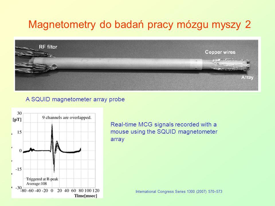 Magnetometry do badań pracy mózgu myszy 2 International Congress Series 1300 (2007) 570–573 A SQUID magnetometer array probe Real-time MCG signals rec