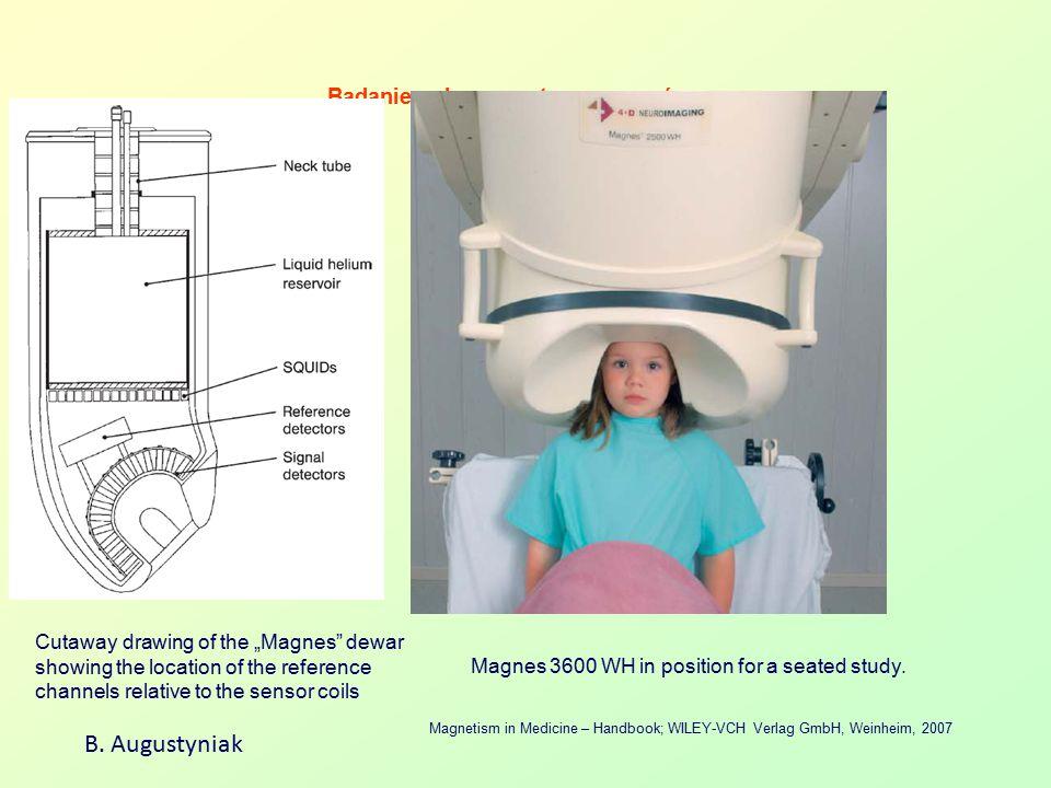 Badanie pola magnetycznego mózgu B. Augustyniak Magnetism in Medicine – Handbook; WILEY-VCH Verlag GmbH, Weinheim, 2007 Magnes 3600 WH in position for
