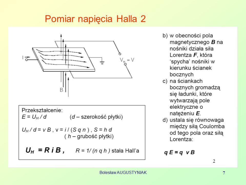 Bolesław AUGUSTYNIAK 7 Pomiar napięcia Halla 2