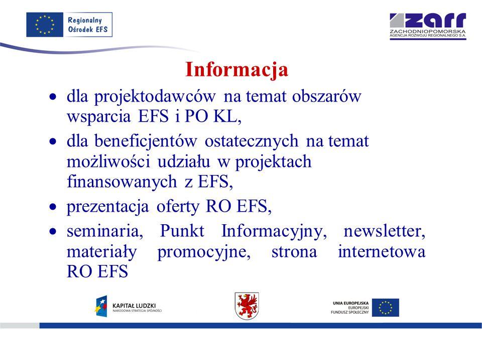 Informacja  dla projektodawców na temat obszarów wsparcia EFS i PO KL,  dla beneficjentów ostatecznych na temat możliwości udziału w projektach finansowanych z EFS,  prezentacja oferty RO EFS,  seminaria, Punkt Informacyjny, newsletter, materiały promocyjne, strona internetowa RO EFS